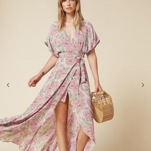 Reformation Wooster Wrap Dress in pink floral
